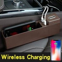 car storage box Auto Seat Gap Filler Storage Box Car Wireless Charging Console Side Pocket Organizer Car Interior Accessories