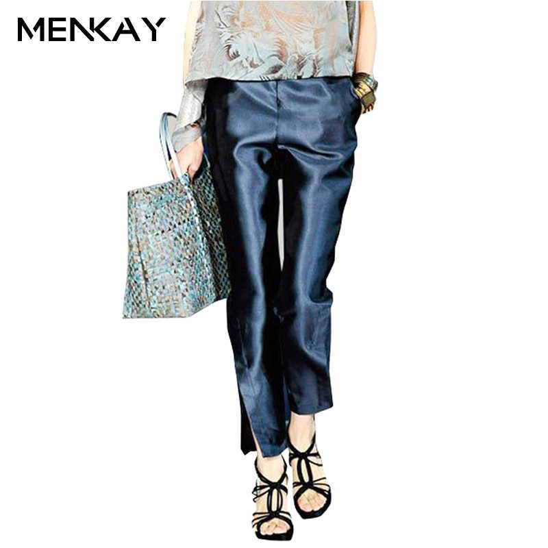 [MENKAY] 2018 Spring Solid Color Satin Ankle-Length Pants Office Lady Side Split Low Waist Elegant Women Trousers New