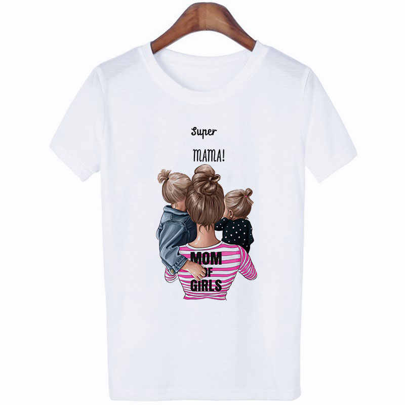 Abbigliamento donna 2019 Summer Vogue Print Love Super Mom Tshirt Harajuku Kawaii casual confortevole materna etra top femminili