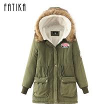FATIKA 2017 Winter Women's New Fashion Coats Cotton Padded Slim Hooded Parkas Ladies Fleece Lining Casual Warm Jackets Overcoat