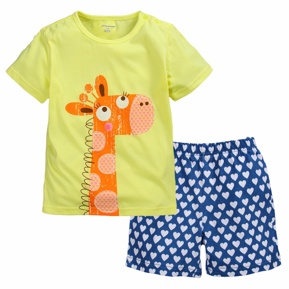 Giraffe Baby Girls Clothes Sets Summer T-Shirts Jumpers Pants Suit Fashion Children Pajamas Baby Girl Dresses Hot Sale