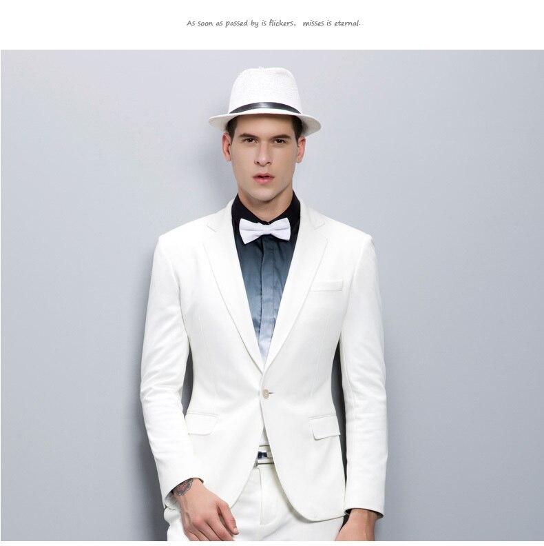 55d005b062847 2015 guapo de alta calidad para hombre flaco chaqueta Silm blanco trajes de  novio de ajuste trajes partido de moda para hombre Masculino chaquetas + ...