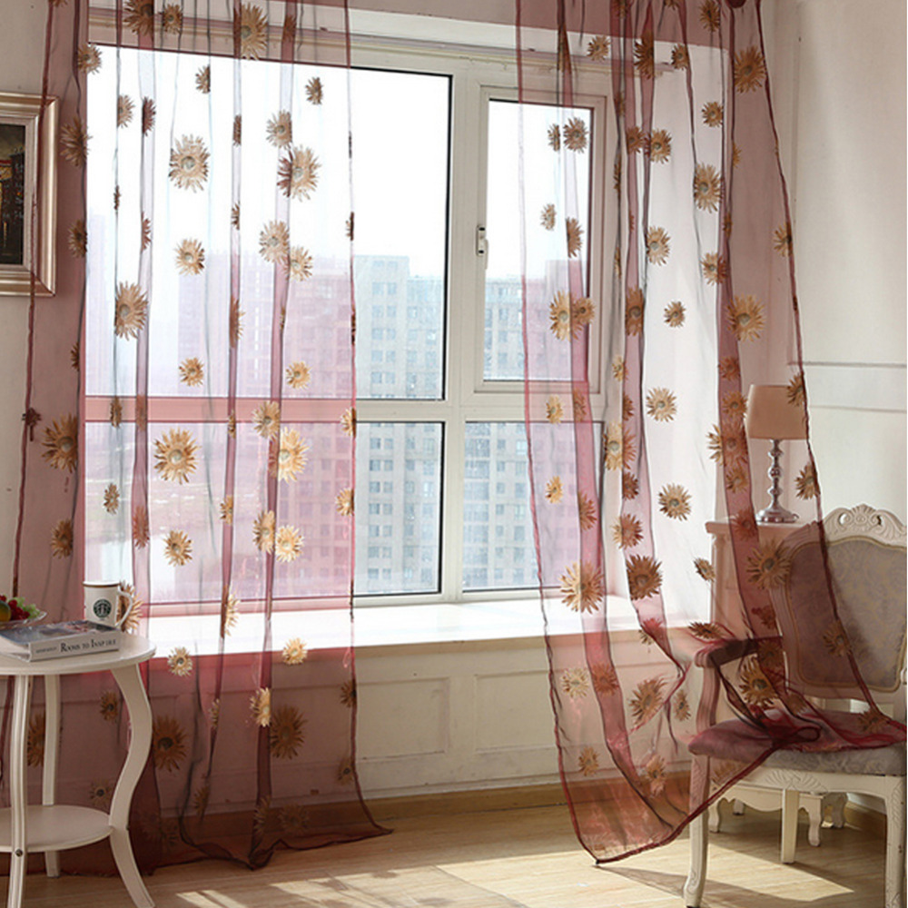 Hot 2016 new decorative sunflower printed printed for Balcony curtains