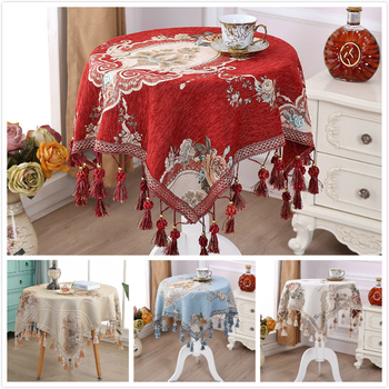 European Exquisite Embroidered Fringe Lace Tablecloth Balcony Small Round Table Kitchen Restaurant Christmas Wedding Decoration