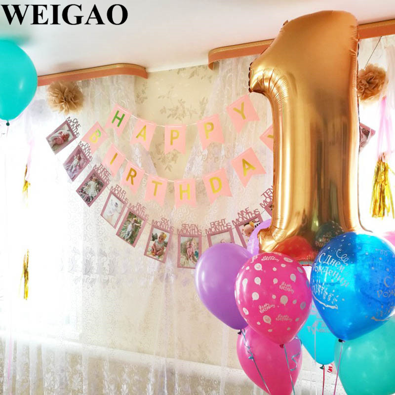 Image 4 - WEIGAO Baby 1st Birthday Photo Banner Star Heart Photo Garland with Clips Girl First Birthday 1 One Year Monthly Photo Props-in Party DIY Decorations from Home & Garden