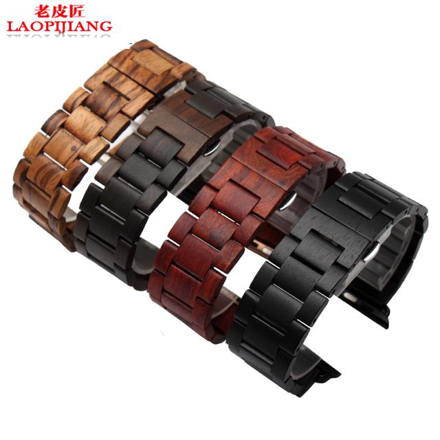 Laopijiang você substituir o apple apple watch oceano pulseira de relógio pulseira de relógio de madeira com madeira de ébano iwatch 42mm
