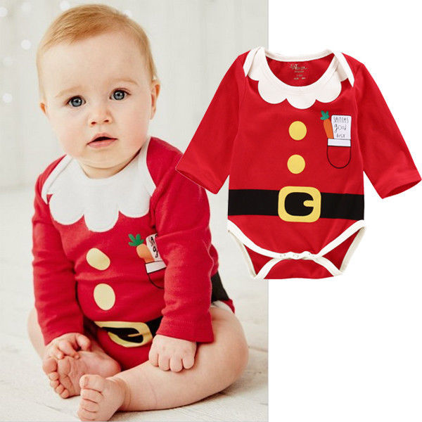 Newborn Baby Boys Girls Christmas Clothes Cotton Long Sleeve