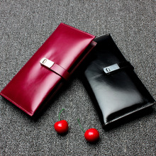 High Quality Women Oil wax Cowhide Fold suit wallet Long Hasp Classic Hand wallet Clutches Photo Holders Purse Carteira