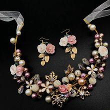 ceramic pearl flowers tiaras wedd hair jewelry  crown ornanments pins clips barrette H001