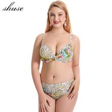 Plus Size 4XL Bikini Swimsuit Women Push Up Bandage Bikini Set Swimwear Femme Biquini Print Floral Solid Beachwear Bathing  Suit plus size floral print fringed bikini set