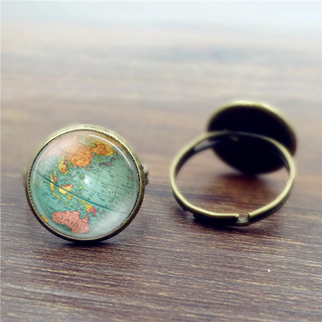 Vintage bronze color glass dome globe ring planet earth world map vintage bronze color glass dome globe ring planet earth world map art ring for mens women gumiabroncs Gallery