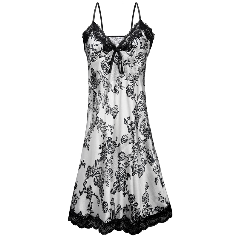 2019 Summer Satin Silk Lace Sleeping Dress Nightgown Women Spaghetti Strap Night Dress Pijama Slits Printed Mini Dresses