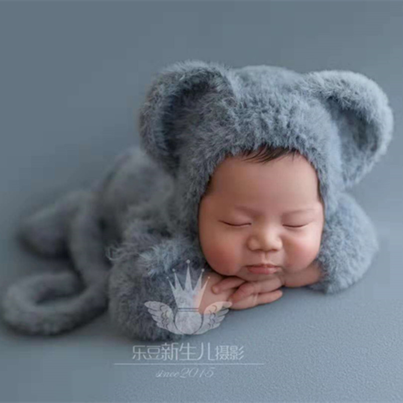 Vintage Baby Boy Outfit Photo Props Fluffy Crochet Infant Hat Overalls Newborn Jumpsuit Newborn Elephant Animal Romper Hat Set