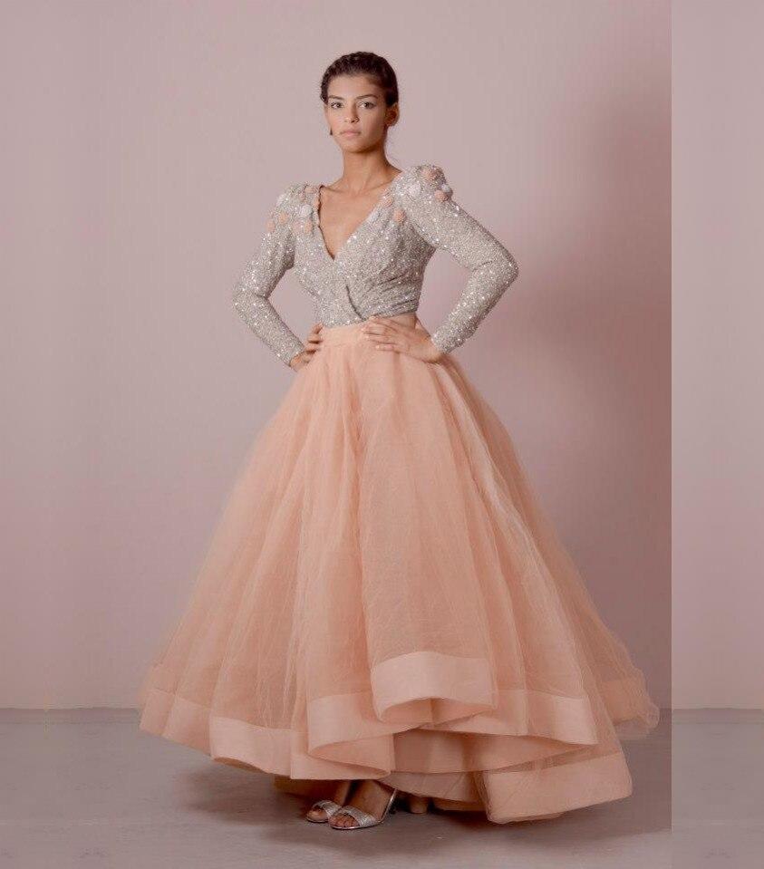 Elegant Long Sleeve V Neck Evening Dresses 2017 Abendkleider Formal ...