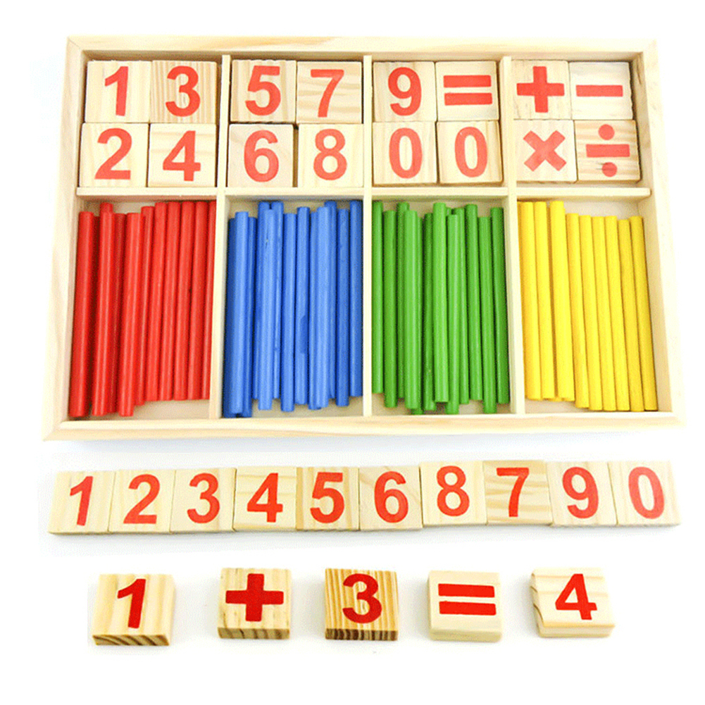 Wooden Counting Sticks Building Intelligence Block Montessori Mathematical Kids Education Toy Wooden Box Children Gift
