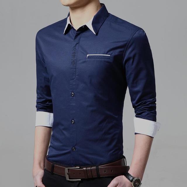 ed588f04ea Mens Casual Shirts Tailor Made Slim Fit White Light Blue Navy Blue Shirt  Men Shirt Long Sleeve Men s Casual Shirt