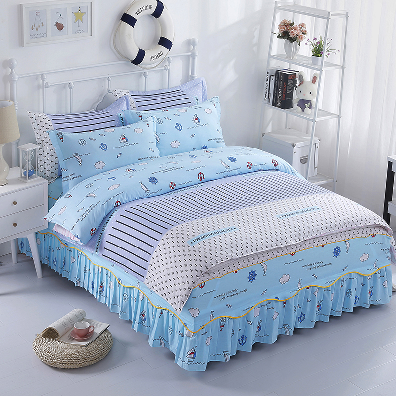 Popular Fashion European Bed Linen Cotton College Wind Comfortable Soft Home Textiles Quilt Cover + Bed Skirts + Pillowcase
