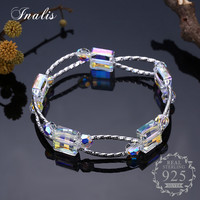 INALIS 925 Sterling Silver Luxury Clear Bracelets Bangles For Women Girls Fine Jewelry Party Accessorie New