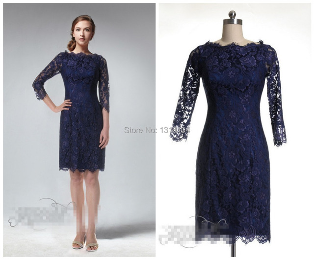 Cheap Casual Navy Blue Lace Modest Bridesmaid Dresses With 3/4 ...