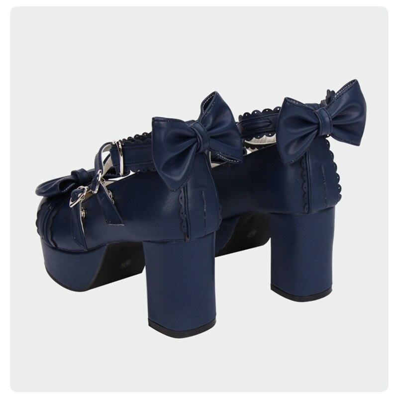 forme 8 Femme Noir Chaussures Plate Cosplay Talons Talon Cm Hauts Pour Carré custom Bleu Doux Lolita Blue Royal navy q8FAHwrq