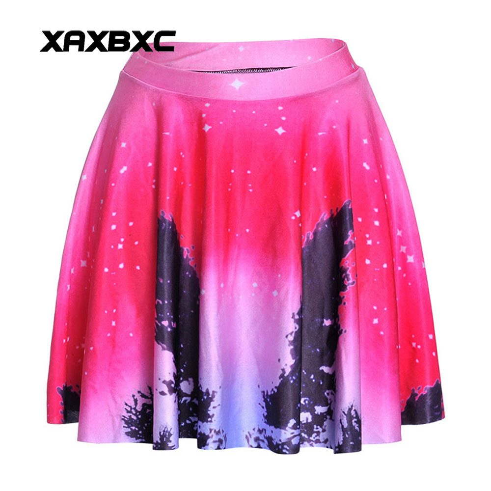 NEW 1193 Summer Harajuku Sexy Girl Galaxy Aurora Pink CoCo Prints Cheering Squad Tutu Skater Women Mini Pleated Skirt Plus Size