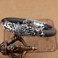 Sandelhout ARMBANDEN GROOTHANDEL S925 zilver ingelegd antieke zilveren sieraden craft vrouwelijke opening oude Zilveren Gesneden