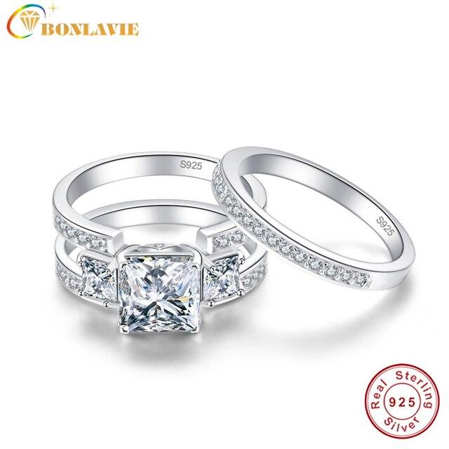 Bonlavie 2pcs Female Luxury Jewelry Engagement Ring 3ct White Topaz 925 Sterling Silver Wedding Band