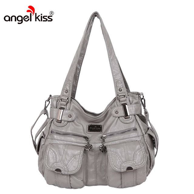 Angelkiss Brand Pu Washed Handbags Women Shoulder Bags Hobos Handbag For Woman High Quality Messenger Leather Handbagus 36 39