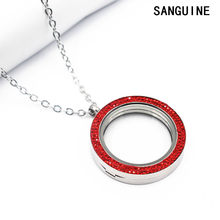 Newest 34mm Free Chain Red Crystal Round Floating Lockets Necklace Magnet Big Glass Locket Pendant Necklace Jewelry For Women(China)