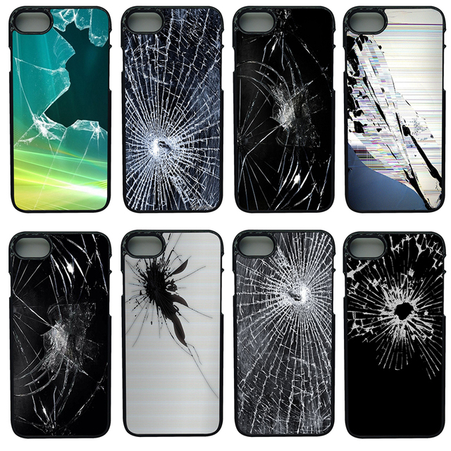 sports shoes a6b49 015a1 US $4.49 10% OFF Mobile Phone Cases Broken Screen Pattern Hard PC Plastic  Cover for iphone 8 7 6 6S Plus X 5S 5C 5 SE 4 4S iPod Touch 4 5 6 Shell-in  ...