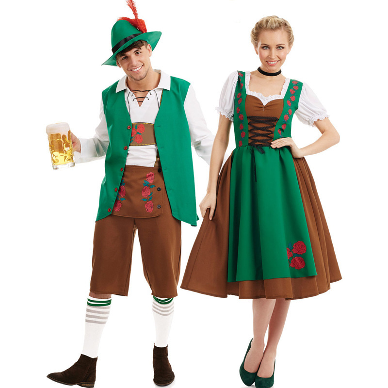Couple Classic Halloween Costumes German Oktoberfest Uniform Beer Clothing Bar Waiters and Waiters Promotional Clothing image