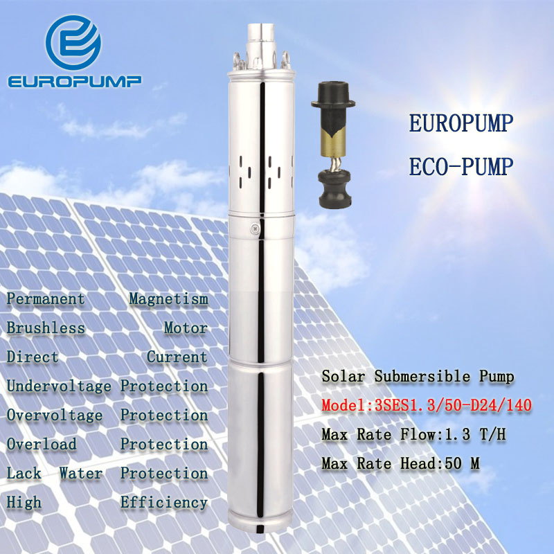 EUROPUMP MODEL(3SES1.3/50 D24/140) 3Inch Water Pump DC 24V Submersible Pump Deep Well Alternative Energy Solar Powered for irrig