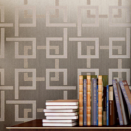 Glitter Wallpaper Plaid Flocking Non woven Modern Chinese Style ...