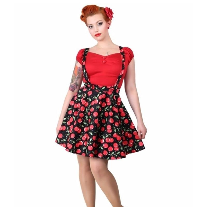 15- women vintage 50s cherry print circle swing suspender skirt rockabilly  pinup saia plus size aad5e7f58cae