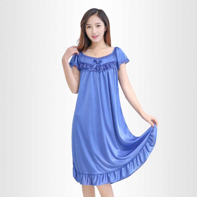 d10aacaec6ff Hot Sale Nightgowns   Sleepshirts Women Summer Style Bathrobe Sleepwear  Sexy silk female lace Large size Nightdress wholesale