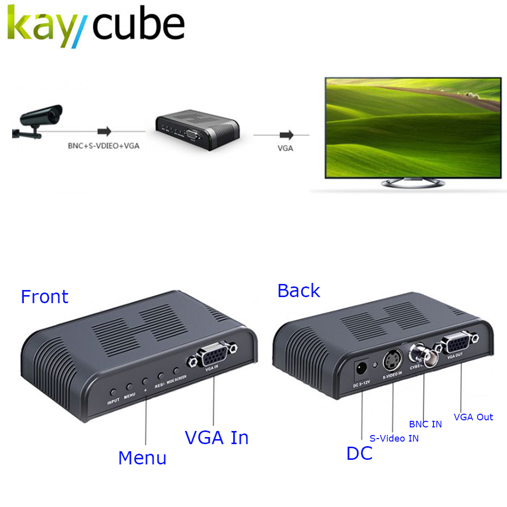 Kaycube Ultra HD 1080P BNC + S - Video to VGA AV Adapter for Computer HDTV Projector ( AC 100 - 240V )   BLACK bnc м клемма каркам