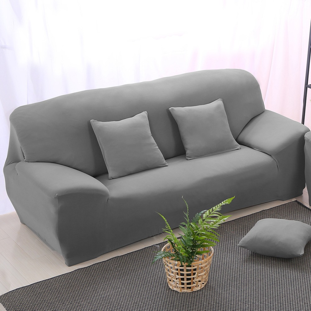 Elastic Stretch Sofa Cover Slipcover Solid Color Chair Couch Sofa Cover  Silver Gray Wrap Sofa(