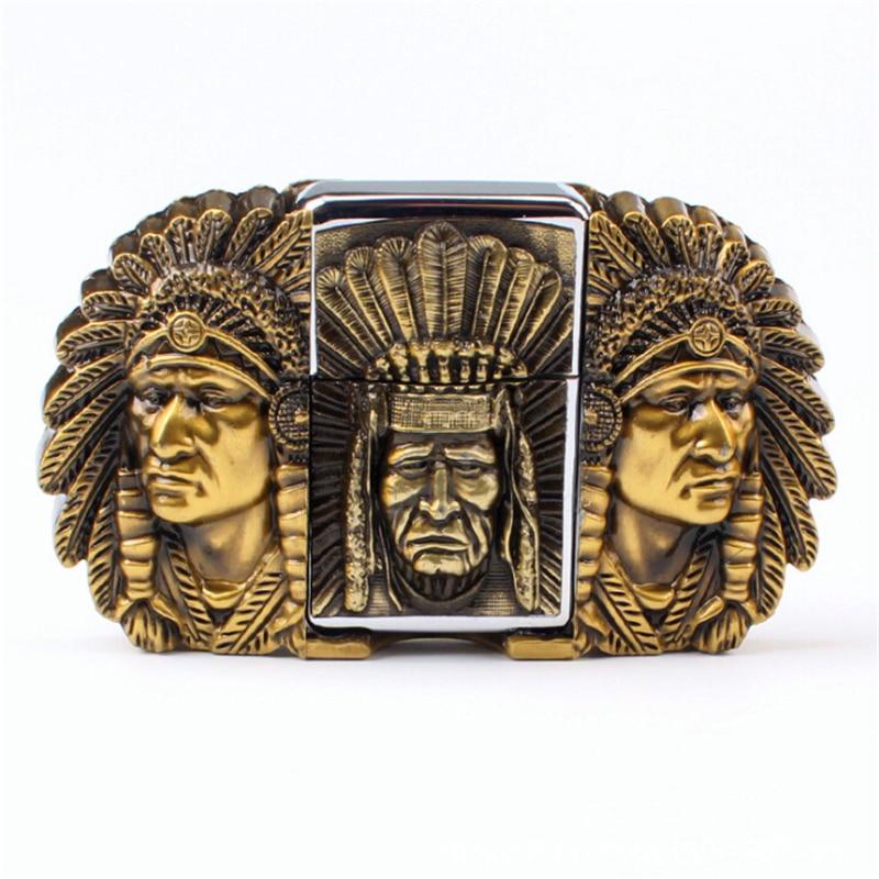 Cinturón de los hombres más ligeros Kerosene hebilla de encendedor de la cabeza del cinturón Jefes indios de metal encendedor de cigarrillos hebilla de cinturón