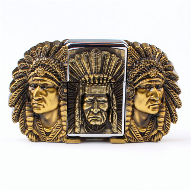 Лакши каиш за мушкарце Глава каишева са упаљачем од керозина Индијски главари каишеви за упаљач за металне цигарете