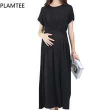 PLAMTEE Elegant Maternity Dresses Lady Clothes Solid For Pregnant Women Pregnancy Clothing Summer 2017 Dress Plus Size