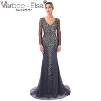 076ba84fb7 VARBOO ELSA 2018 Sexy Blue Mermaid Prom Dress Beaded Lace Applique Evening  Dresses Long Sleeve Elegant