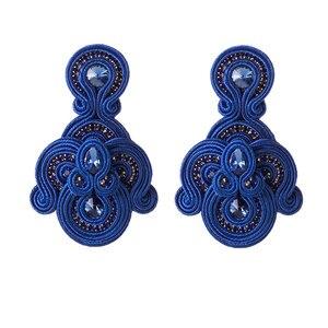 Image 5 - Модные кожаные женские серьги KPacTa, раньше ювелирные изделия, большие Подвесные серьги ручной работы в стиле ретро вечерние праздничный национальный подарок