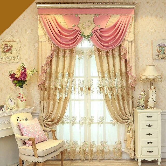 Custom Curtains European Luxury Simple Modern Pink Princess Girl Room Bedroom Cloth Blackout Curtain Tulle Valance