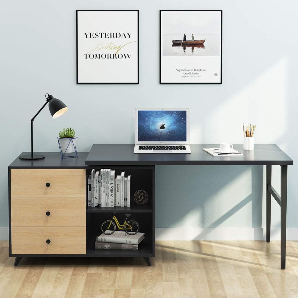 L Shaped Corner Desk Computer Workstation Home Office: Rotating L Shaped Corner Computer Desk With Drawers