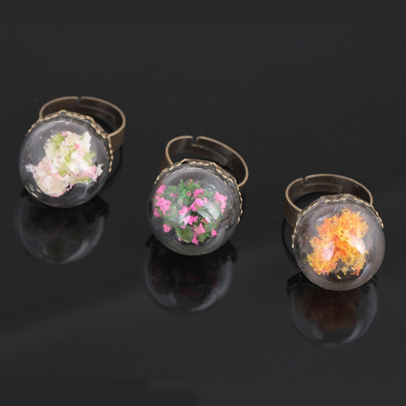 New Fashion Vintage Luminous Hoop Ring Sexy Women Party Jewelry Glow In The Dark Flower Tree Glass Ball Adjustale Rings Jewelry