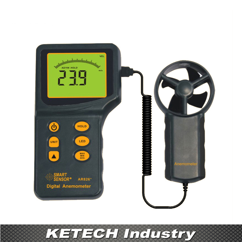цена на AR826 Handheld Digital Anemometer Air Flow Meter Wind Speed Gauge Tester 0.3~45m/s