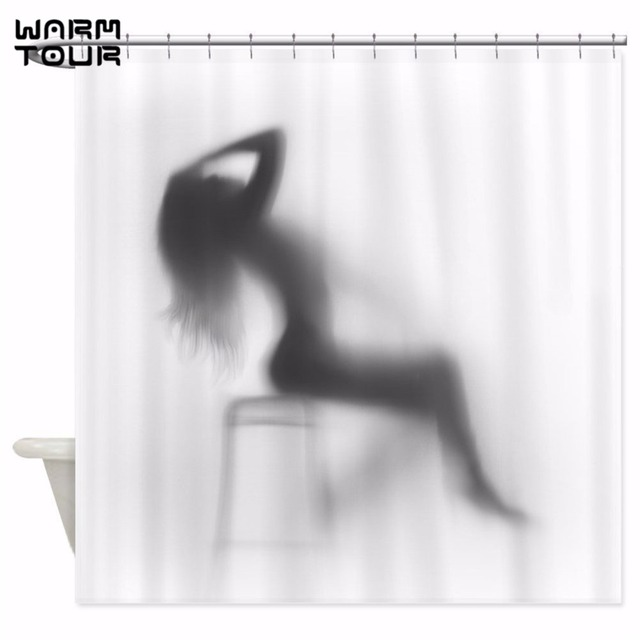 Warm Tour Creative Sexy Girl And Women Shadow Silhouette Bath Shower Curtain Waterproof Bathroom Home