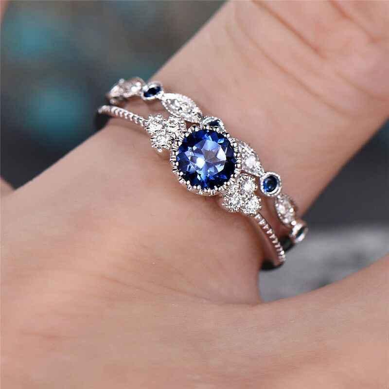 2 ชิ้น/เซ็ต 2018 หรูหราสีเขียวหินสีฟ้าคริสตัลแหวนผู้หญิง Sliver สีงานแต่งงานแหวนเครื่องประดับคริสตัลแหวน