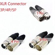 1 шт мужские и женские 3-контактный 4-контактный разъем 5-контактный XLR микрофон аудио кабель для подключения к сети инструменты для наращивания волос Cannon концевые кабельные муфты