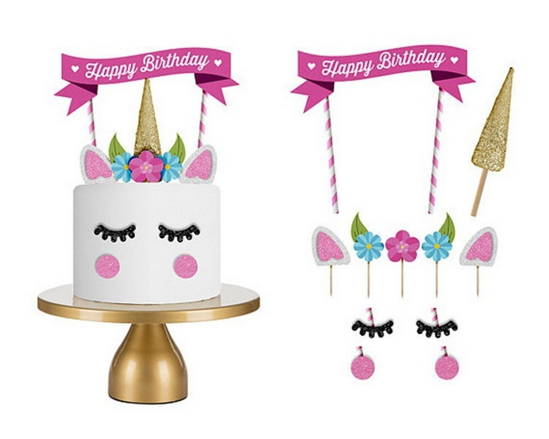 Unicorn Party Happy Birthday Cake Banner Flag Sign Birthday Party Paper Flower Cake Decoration Photo Prop